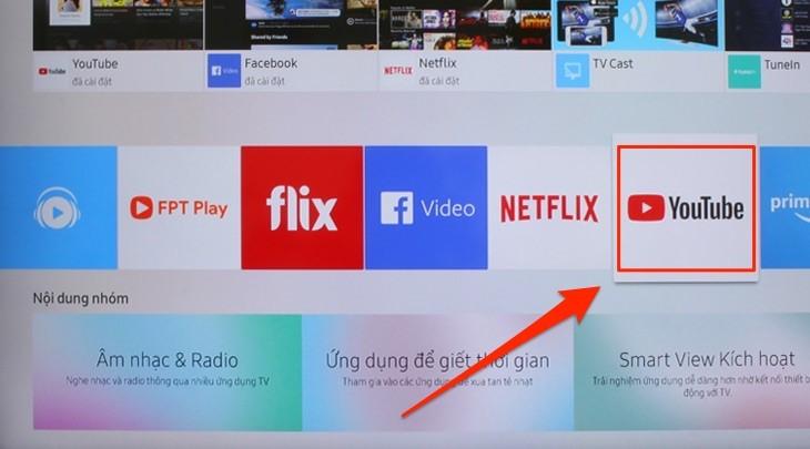 Cách khắc phục các lỗi Youtube hay gặp trên tivi Samsung - B3 Chọn biểu tượng Youtube
