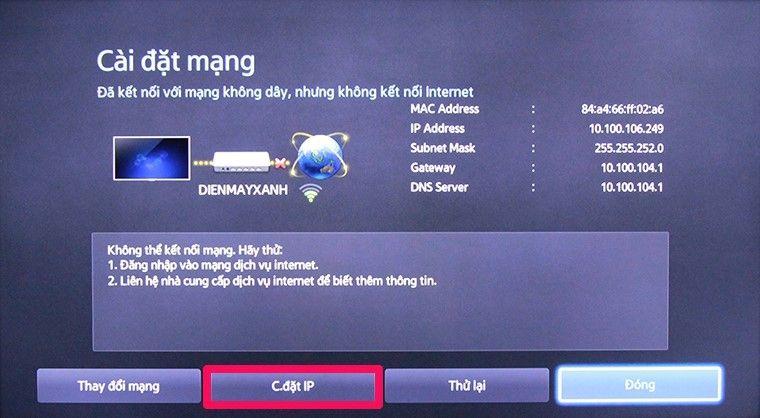 Chọn cài đặt IP